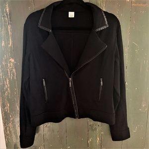 Jockey Black Zip -Up Moto Jacket w/ Faux Leather